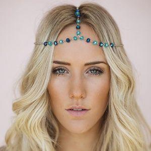 crystal beaded headband headchain hair jewelry